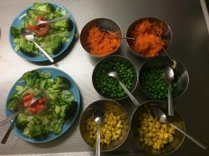 Alltid olika sorters grönsaker till våra måltider