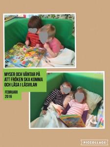 Vi har läsvila varje dag. Den syftar mycket till att ägna en stund till att bara slappna av, låta såväl kropp som öron och mun vila en stund. Barnen läser en bok i lugn och ro innan fröken kommer och läser högt.
